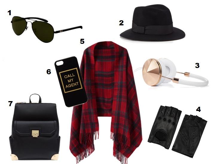 modni dodatki za videz off duty modela-modni dodatki-soncna ocala-sal-torba-iphone ovitek-slusalke-rokavice